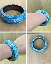 Blue Geometric Triangular Painted Wooden Chunky Statement Bangle Retro Gift