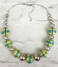 GORGEOUS CHUNKY GREEN AND YELLOW CERAMIC BEADED SILVER TONE NECKLACE