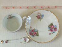 Adeline Fine Porcelain Cup, Saucer & Stirring Spoon Mini 100% Handmade For April
