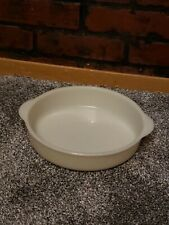 "Fire King Oven Glass Ivory Cake Pan Round 8 3/4"" Diameter Tabbed Handle"