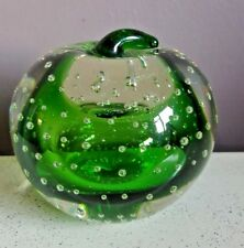 Art Glass Green Apple Paperweight with Controlled Bubbles
