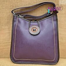 Ladies Purple Cross body Faux Leather Big Button Fashion Shoulder Bag Handbag