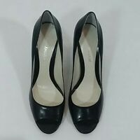 Enzo Angiolini size 9M women's black heels leather upper peep toe pre-owned