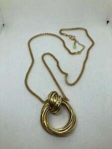 Trifari Twisted Knot Pendant Gold Tone Long Necklace
