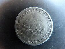 Pièce monnaie FRANCE 1 FR 1898 semeuse ARGENT SILVER état voir scan