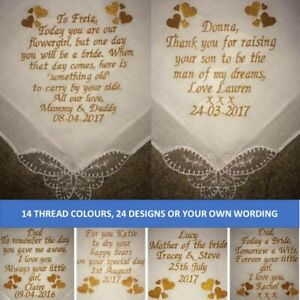 Bride groom Personalised Handkerchief embroidery embroidered wedding favour mum
