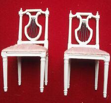 MOBILIER MINIATURE-MAISON de POUPEE-DOLLS' HOUSE- 2 chaises louis XVI lyres