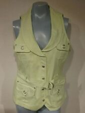 Ruby Rd. Lime Green Cargo Vest Size 8 Snap Up Front With Tie Belt  E36