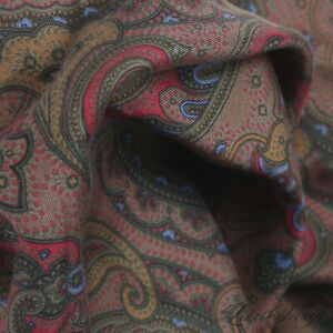 Anonymous Hand Made Italy 100% Silk Muddy Brown Madder Paisley Pocket Square NR