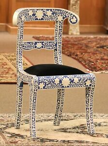 Bone Inlay Accent Chair in Royal Blue finish. Klismos stylized Ram head chair