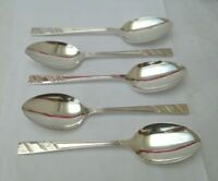 """VINTAGE - CUTLERY - SET OF 5 DESSERT SPOONS - EXTRA - SILVER PLATED - SIZE 7.3"""""""
