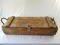 HUGE VINTAGE MILITARY WOOD CRATE BOX cannon ammunition 30x10x6 with rope handles