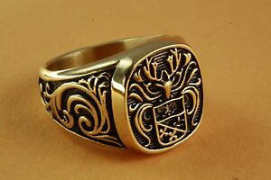 Wappenring Knights Knight Coat of Arms Gold Plated Men's Ring Seal Ring 434