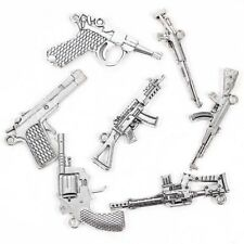 7Pcs Unisex Alloy Pistols Gun Machine Pendant For  DIY Necklace Jewelry Making