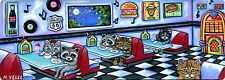 Kittens Cats Raccoons 50's Diner Juke Box Nostalgia Original ACEO Painting Print