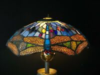 "15""  Vintage Tiffany Style Stained Glass Dragonfly Lamp Shade - Hanging or Floor"