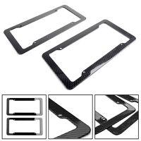 2PCS Carbon Fiber Style Custom License Plate Frame For Front & Rear Bracket TZU5