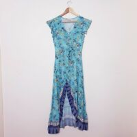 Iris Maxi Size 8 Blue Floral Gypsy Boho Spring Button Up Hi Low Maxi Dress