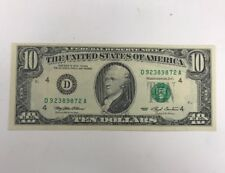 1993 $10 Federal Reserve Note D Bank Of Cleveland Ohio $10 Uncirculated
