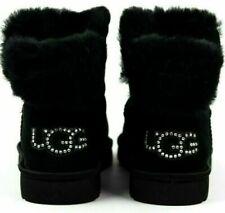 UGG CLASSIC BLING MINI BOOTS BLACK SHEEPSKIN SUEDE SWAROVSKI 8 NEW Fur 1105364