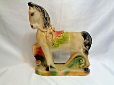 1958 Signed Dated Old Chalkware Western Parade Saddle Horse Carnival Prize