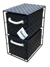 Black Tower Unit 2 Drawer Storage With Metal Frame Polypropelene Made 437BK