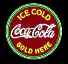 "New Ice Cold Coca Cola Sold Here Neon Light Sign 24""x24"" Lamp Poster Real Glass"