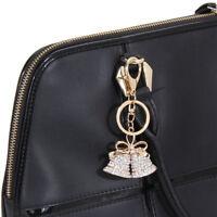 Rhinestone Crystal Keyring Pendant Purse Bag Key Ring Chain Bell Keychain Holder