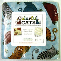 BENARTEX FABRICS CHARM PACK  COLORFUL CATS MULTI BY THE CHARM PAC