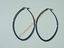 Boucles d'Oreilles Créoles Forme Ovale 75 mm Acier Chirurgical Inoxydable Argent