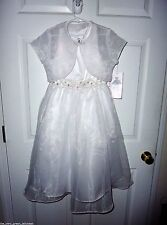 RARE EDITIONS Girl 8 White Beaded Organza Special Occasion Communion Fancy Dress