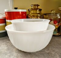 "Vintage Fire King White Swirl Mixing Bowls, Oven Ware 7"" and 9"""
