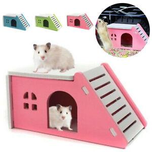 Pet Hamster House Bed Cage Nest Hedgehog Guinea Pig Wooden Castle Good Toy