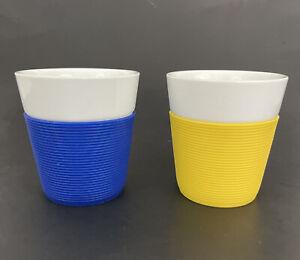 Bodum Bistro Blue Yellow Silicone Grip Sleeve Coffee Cup White Porcelain 6 oz.