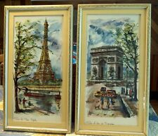 1960s Vintage SIGNED Print ARNO French Watercolor Painting Arc de Triumph Paris