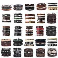Men Women Fashion Handmade Genuine Leather Bracelet Braided Bangle Wristband
