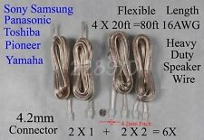 6 speaker cables/wires 4.2mm 16AWG 80ft made for 4.2mm Sony/Samsung/Panasonic HT
