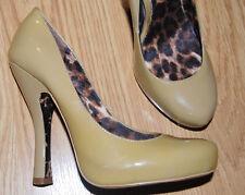 "BETSEY JOHNSON Nude beige Camel patent leather DRESS pumps 5"" heels 7 TASTTY $99"
