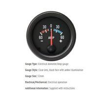 52 mm 60amp Amperometro Gauge Auto Black Face con lente trasparente