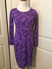 NWT Lularoe Purple Rose Floral Debbie Dress Size S