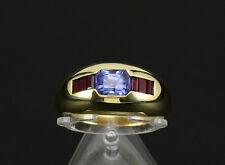 Sehr schöner Saphir Rubin Band Ring ca. 1,90ct  750/- Gelbgold