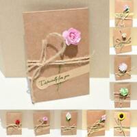 2pcs Retro DIY Paper Invitation Greeting Card with Handmade Envelope Flower W1F9