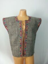 VTG 60 70s Vest Top Gray Brw Wool Floral Embroidery Hippie Boho Festival 44 L/XL