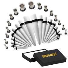 32pcs Gauge Kit 12G-00G White Taper Plug Steel Single Flared Tunnel Piercing