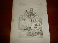 1836 INCISIONE BULINO COLONIA ALBANESE IN CALABRIA DA ITALIE PITTORESQUE N°2