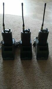 Vintage 1988 Lot of 3 Maxon Handheld 2 Way Radio Walkie Talkie w/Charger Works