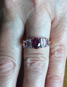NEW! Idar Rubellite & Imperial Pink Topaz 9ct Gold Ring Gems TV Limited Edition