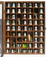 73 Thimbles Lot Ceramic Metal Pewter Porcelain Plastic Wood Spools Display Case