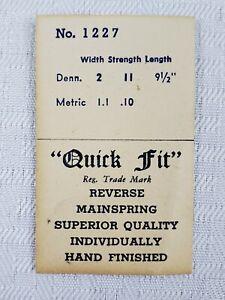 Quick Fit Reverse Mainspring Swiss Made #1227 Width 2 Strength 11 Length 9.5 NOS