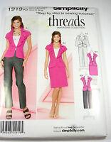 Simplicity 1919 Misses Slim Pants Skirt Jacket Pattern Size 8-16